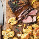 Barbecued marinated lamb